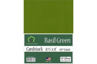 (22cm  x 28cm  - 50 Sheets) - Basil Green Cardstock - 22cm x 28cm - 29kg Cover - 50 Sheets