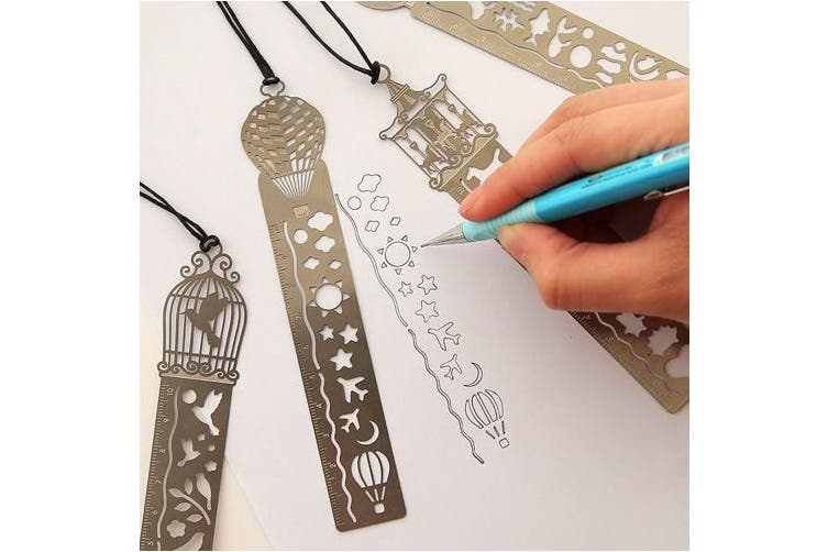9pcs/set Multi Functional Creative Hollow Out Metal Stainless Steel Graffiti/Alphabet/Number Ruler School Supplies For Students Hand Drawing Account Template DIY Diary Graphics Design Bookmark Ruler