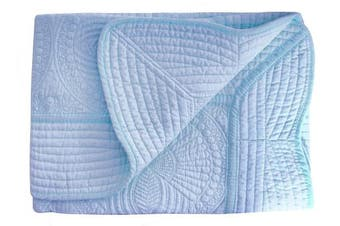 (Blue) - Lightweight All Weather Embossed Detail Cotton Quilt For Baby and Toddler