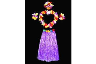 (Purple) - Hawaii Dancing Hula Grass Skirt Adult Costume Suit(Skirt colour:purple,thicken) by Alimitopia