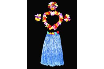(Blue) - Hawaii Dancing Hula Grass Skirt Adult Costume Suit(Skirt colour:blue,thicken) by Alimitopia