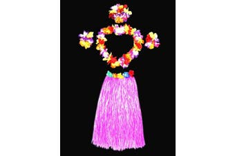 (Pink) - Hawaii Dancing Hula Grass Skirt Adult Costume Suit(Skirt colour:pink,thicken) by Alimitopia