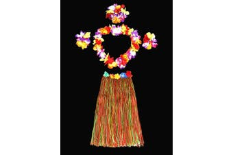 (Multicolor) - Hawaii Dancing Hula Grass Skirt Adult Costume Suit(Skirt colour:multicolor,thicken) by Alimitopia