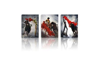 Smarten Arts Bull Fight Wall Decor Corrida de Toro Arts Stretched on Canvas 3 Panels Wood Framed Wall Oil Paintings Ready to Hang Wall Decoration