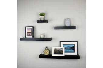 (Black) - Ballucci Modern Ledge Wall Shelves, Set of 4, Black