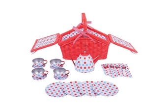 Bigjigs Toys Colourful Spotted Tea Set and Basket - Role Play Toys and Play Sets