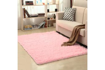 (Pink) - SANMU Soft Velvet Silk Rugs Simple Style Modern Shaggy Carpet Fashion Colour Bedroom Mat for Girls Home Decor,1.2m x 1.6m Pink