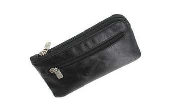(Black) - Visconti Monza Collection GENO Leather Coin Purse With Keyring MZ19 Black