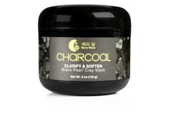 Berry Moon Anti-ageing Charcoal Clay Mask for oily skin, congested T-zone, blackheads, enlarged pores, dark spots. With Vitamin C and Green Tea. Large 150ml jar.