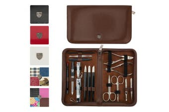 (Brown) - 3 Swords Germany - brand quality 16 piece manicure pedicure grooming kit set for professional finger & toe nail care scissors clipper fashion leather case in gift box, Made in Solingen Germany (02648)
