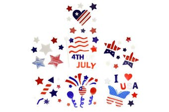 Set of 8 Patriotic Gel Stickers - Multiple Gel Stickers per Pack - 8 Different Styles - Vibrant Red White and Blue Colours- Perfect for Your 4th of July Celebration!