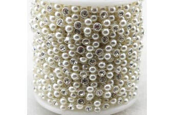 (LZ118) - AEAOA 8mm Ivory Pearl and Rhinestone Chain Sewing Trims Cake Decoration (LZ118)