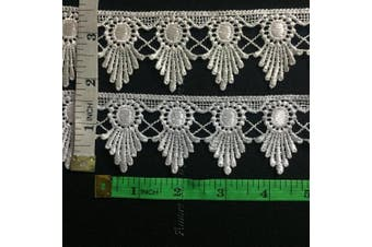 (White) - 2 Yards, Venise Lace Trim, Royal Flower, 4.4cm (White)