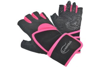 (Medium, Pink) - Lumintrail Half Finger Sports Exercise Gloves Anti-Slip Gel Padding Wrist Wrap Mens Womens Breathable Lycra Washable Weight Lifting Fitness Cycling
