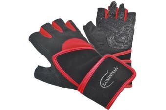 (Small, Red) - Lumintrail Half Finger Sports Exercise Gloves Anti-Slip Gel Padding Wrist Wrap Mens Womens Breathable Lycra Washable Weight Lifting Fitness Cycling