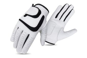 (Medium large) - Set of 3 JL Golf all weather synthetic or 100% Cabretta leather gloves - Choose material and size
