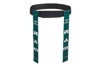 (Green, Large) - Ram Rugby Tag Belts - Set of 10 Belts & 20 Tags - Available in 6 Colours - 2 Sizes