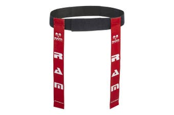 (Red, Large) - Ram Rugby Tag Belts - Set of 10 Belts & 20 Tags - Available in 6 Colours - 2 Sizes