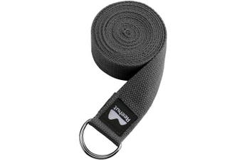 (2.4m, Grey) - REEHUT Yoga Strap (1.8m, 2.4m, 3m) w/Adjustable D-Ring Buckle - Durable Polyester Cotton Exercise Straps for Stretching, General Fitness, Flexibility and Physical Therapy