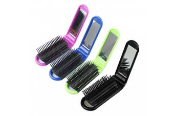 (4 colors) - LOUISE MAELYS 4pcs Colourful Portable Folding Hair Brush with Mirror Compact Pocket Hair Comb for Travel Gift Idea