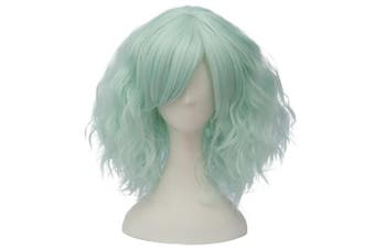 (Neon Green Side Parting) - Alacos Fashion 35cm Short Curly Bob Anime Cosplay Wig Daily Party Christmas Halloween Synthetic Heat Resistant Wig for Women +Free Wig Cap (Neon Green Side Parting)