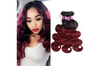 "(12 14 16) - Alisfeel Ombre Brazilian Body Wave 3 Bundles 300 Gramme Total Black 1B Burgundy 99j Hair Extensions Ombre Virgin Human Hair Weaves (12""14""16"")"