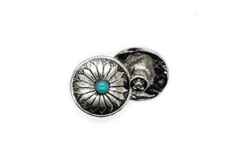 (Silver) - CRAFTMEmore 2PCS 1.9cm Flower Conchos Faux Turquoise Round Shape Silver Plated Metal Castings Screw Back Button (Silver)