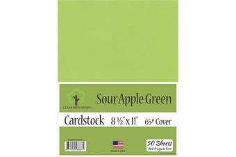 (22cm  x 28cm  - 50 Sheets) - Sour Apple Green Cardstock - 22cm x 28cm - 29kg Cover - 50 Sheets