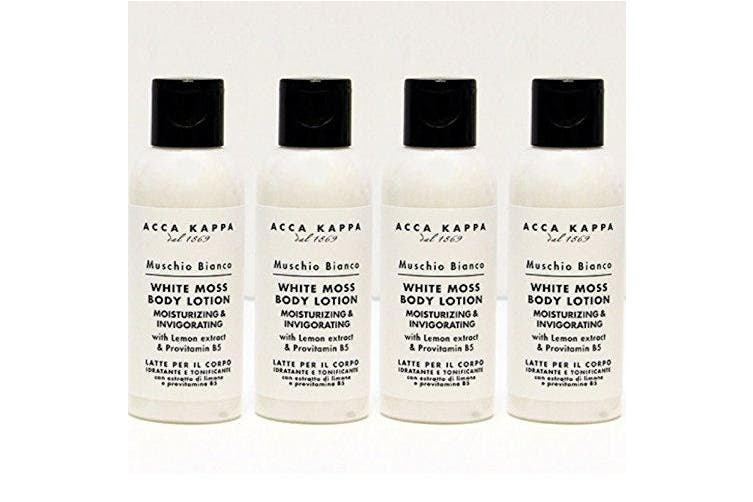Acca Kappa White Moss Body Lotion 300 ML Total - Set of 4, 75 ML Travel Bottles
