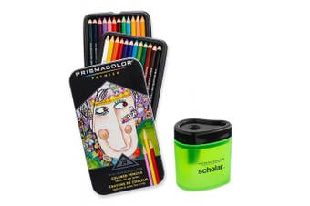 Prismacolor Premier Soft Core Coloured Pencil, Set of 24 Assorted Colours (3597T) + Prismacolor Scholar Coloured Pencil Sharpener (1774266)