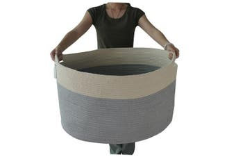 XXXL Jumbo Toy Storage Cotton Rope Basket Hamper with invisible handles 70cm 38cm