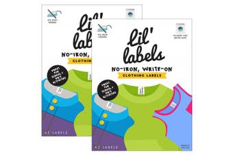 (Set of 2) - Lil' Labels Clothing, Write on Name, No Iron, Washer & Dryer Safe, Kids for Daycare & School, Plus 2 Bonus Gifts, Set of 2