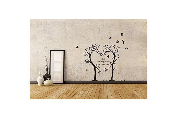 Boodecal Nature Series Heart Tree Quote Wall Decal Mural Sticker Decor for Nursery Bedroom Living Room 39*90cm (39*90cm )