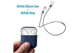 (Midnight Blue) - AirPods Case Protective, FRTMA Silicone Skin Case with Sport Strap for Apple AirPods (Midnight Blue)