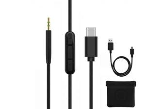 (Black Type-C with Mic) - Geekria QuickFit Type C Replacement Cable for Bose QuietComfort QC35, QC25, SoundTrue, around-ear II Headphones, with Microphone and Volume Control, Works With Apple, Android Device (Black, 1.7m)