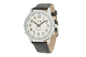 Mens Touch Talking Watch - Extra Large Chrome - Leather Band