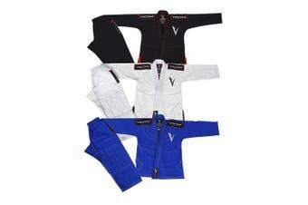 (C00, Black) - Vector Sports Kids Brazilian Jiu Jitsu BJJ Gi with Free White Belt 100% Cotton Pearl Weave Kimono Ultra Lightweight Preshrunk Fabric
