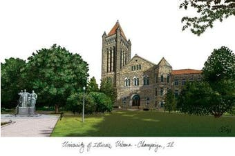 "(One Size, Multicolor) - Campus Images ""University of Illinois, Urbana Champaign"" Lithographic Print"