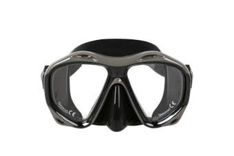 (All Black) - COPOZZ Snorkel Mask Scuba Mask, Snorkelling Dive Glasses, Free Diving Tempered Glass Goggles Diving Mask - Optional Dry Snorkel with Comfortable Mouthpiece, Suitable for Adults Men Women