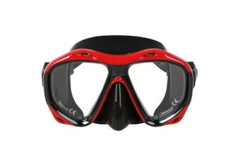 (Black / Red) - COPOZZ Snorkel Mask Scuba Mask, Snorkelling Dive Glasses, Free Diving Tempered Glass Goggles Diving Mask - Optional Dry Snorkel with Comfortable Mouthpiece, Suitable for Adults Men Women