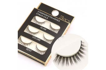 BrilliantDay 3 pairs Long Natural Handmade False Eyelashes Makeup Decoration