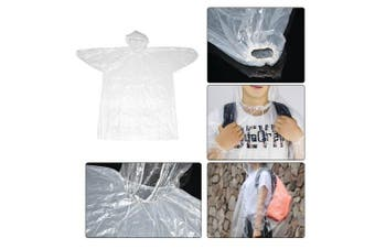 Disposable Raincoats, ATPWONZ 5pcs Portable Emergency Waterproof Rain Coat with Hat Cap for Outdoor Travel Hiking Camping Farming Fishing (Clear)