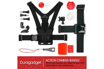 (Action Camera Kit) - Action Camera 17-in-1 Extreme Sports Accessories Bundle - Compatible with the Kaiser Baas X80 Action Camera - by DURAGADGET