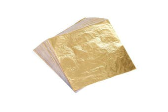 Bememo 100 Sheets Imitation Gold Leaf for Arts, Gilding Crafting, Decoration, 14cm by 14cm