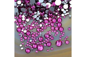 (Fuchsia 25) - AD Beads 1440pcs Mixed Size Non Hotfix Quality Rhinestones Flatback Nail Art Pick Colour (Fuchsia 25)