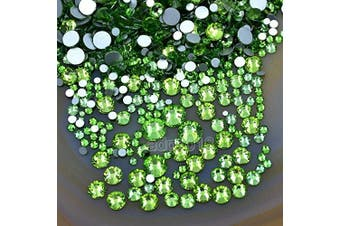 (Peridot 10) - AD Beads 1440pcs Mixed Size Non Hotfix Quality Rhinestones Flatback Nail Art Pick Colour (Peridot 10)