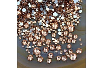(Lt. Peach 23) - AD Beads 1440pcs Mixed Size Non Hotfix Quality Rhinestones Flatback Nail Art Pick Colour (Lt. Peach 23)
