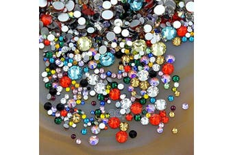 (Randomly Mixed 32) - AD Beads 1440pcs Mixed Size Non Hotfix Quality Rhinestones Flatback Nail Art Pick Colour (Randomly Mixed 32)