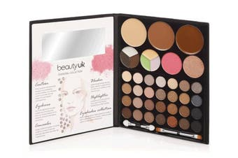 Beauty UK Essential Collection ALL-IN-ONE Professional Makeup Kit: Eyeshadows, Blush, Contouring Creams, Eyebrow kit, Concealer kit for a Natural or Smokey Makeup. Luxury Velvet Package