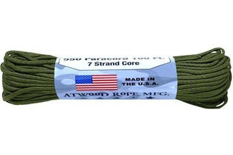 (0.3cm  x 30m, Olive) - A.C. Kerman - LE Atwood Rope 250kg Type III 7 Strand Core Paracord